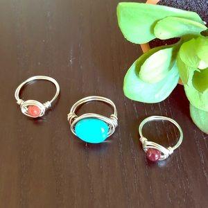 Jewelry - 3✨Gem & Silver Rings